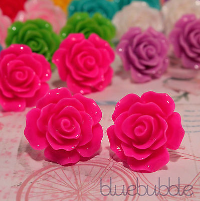 LARGE VINTAGE CARVED 22mm ROSE EARRINGS WEDDING FAVOUR BRIDE BRIDESMAID PROM UK