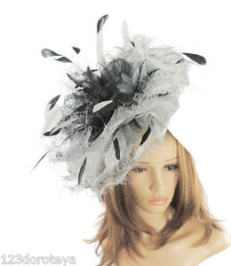 Black Fascinator  Hat for Weddings Ascot Proms With Headband A5