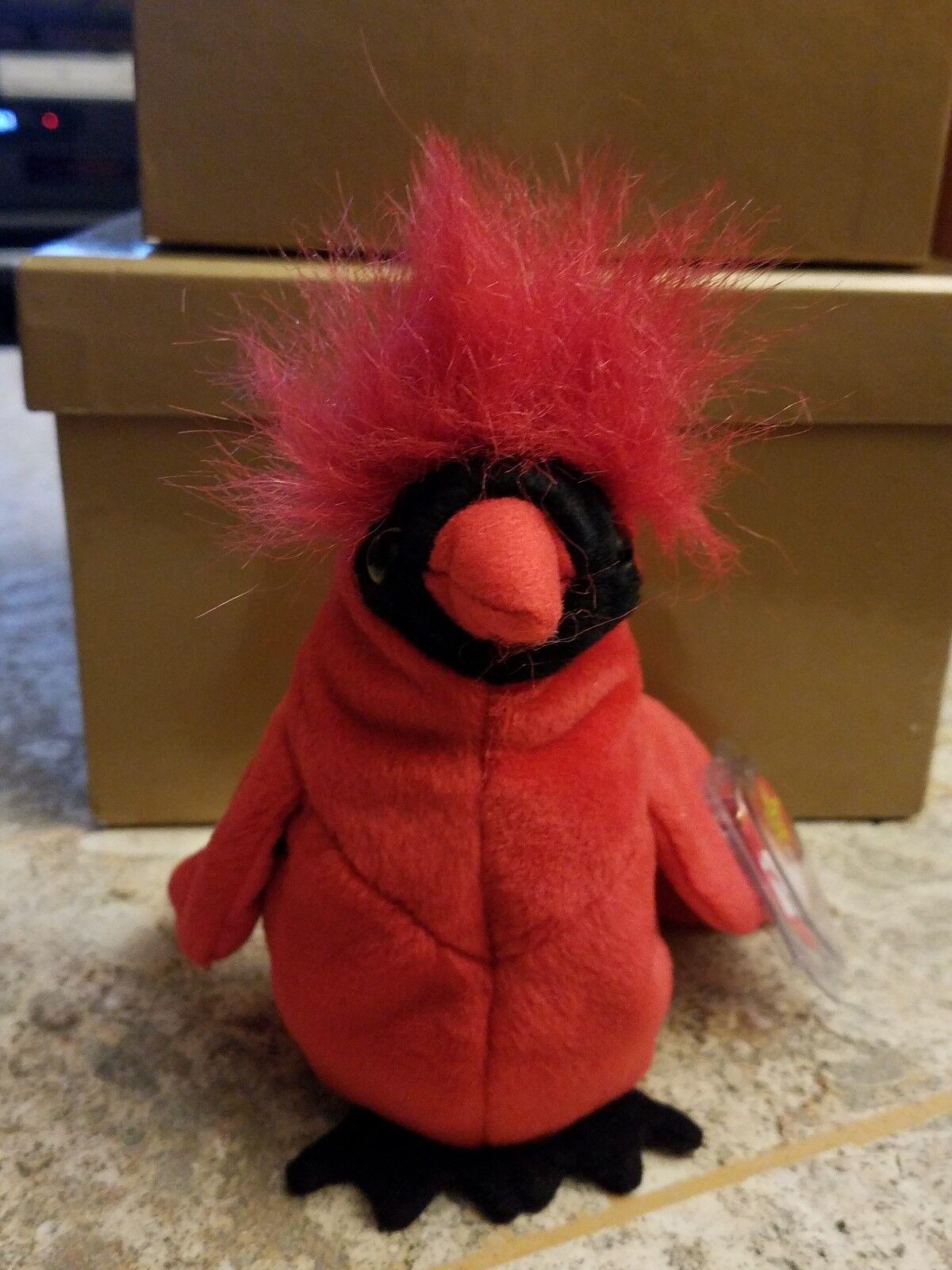 Sehr selten ty beanie baby mac kardinal vogel (1999) limited edition