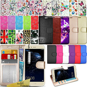 low priced 4aa9a f5416 Details about For Huawei P10 Lite -Wallet Leather Case Flip Stand Magnetic  Cover+ Screen Guard