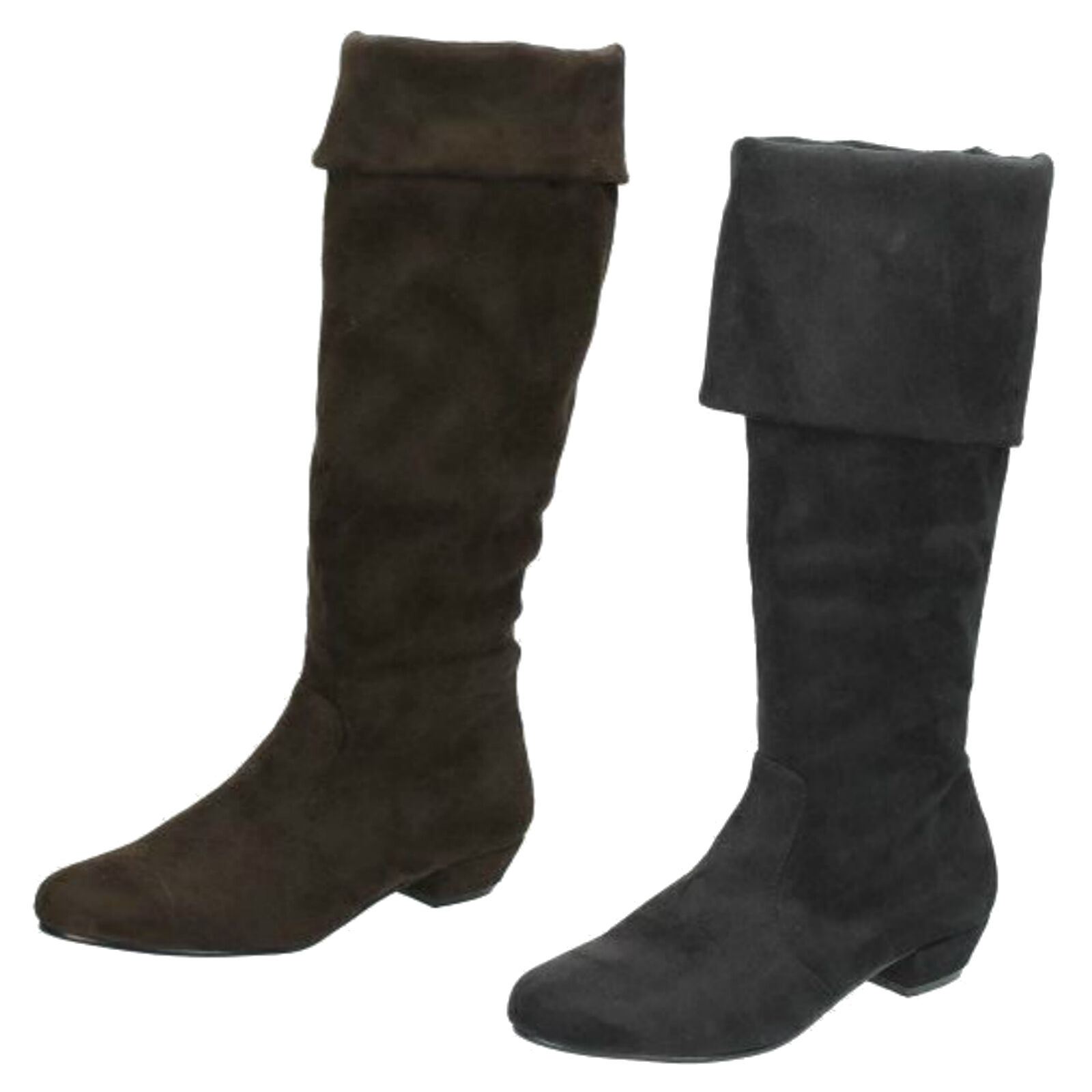 """Ladies Spot On Faux Suede Zip Up Casual Knee High Boots with 1.25"""" Heel F50202"""