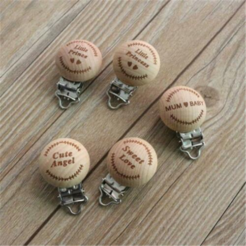 Baby Infant Wooden Pacifier Suspender Clips Holder Soother Dummy Nipple LC