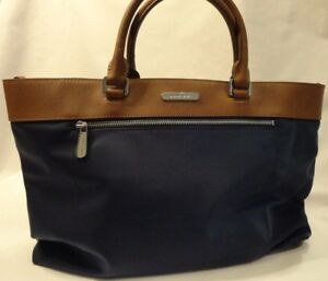 Michael-Kors-Navy-Blue-amp-Brown-Satchel-or-Shoulder-Style-Handbag-New-Purse