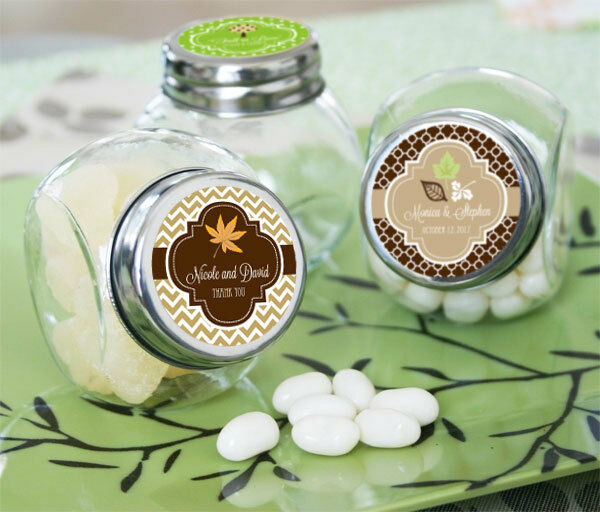 48 Fall Autumn Personalized Wedding Candy Jars Favors