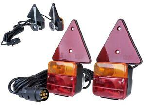 Hecktraeger-Anhaenger-Beleuchtung-Dreikammer-Stuetzen-12V-mit-Magneten-Leuchten-Set