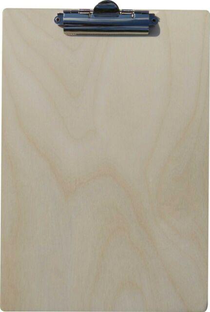 f/ür DIN A4 Bl/ätter stabil und langlebig 4 St/ück Klemmbrett aus Holz