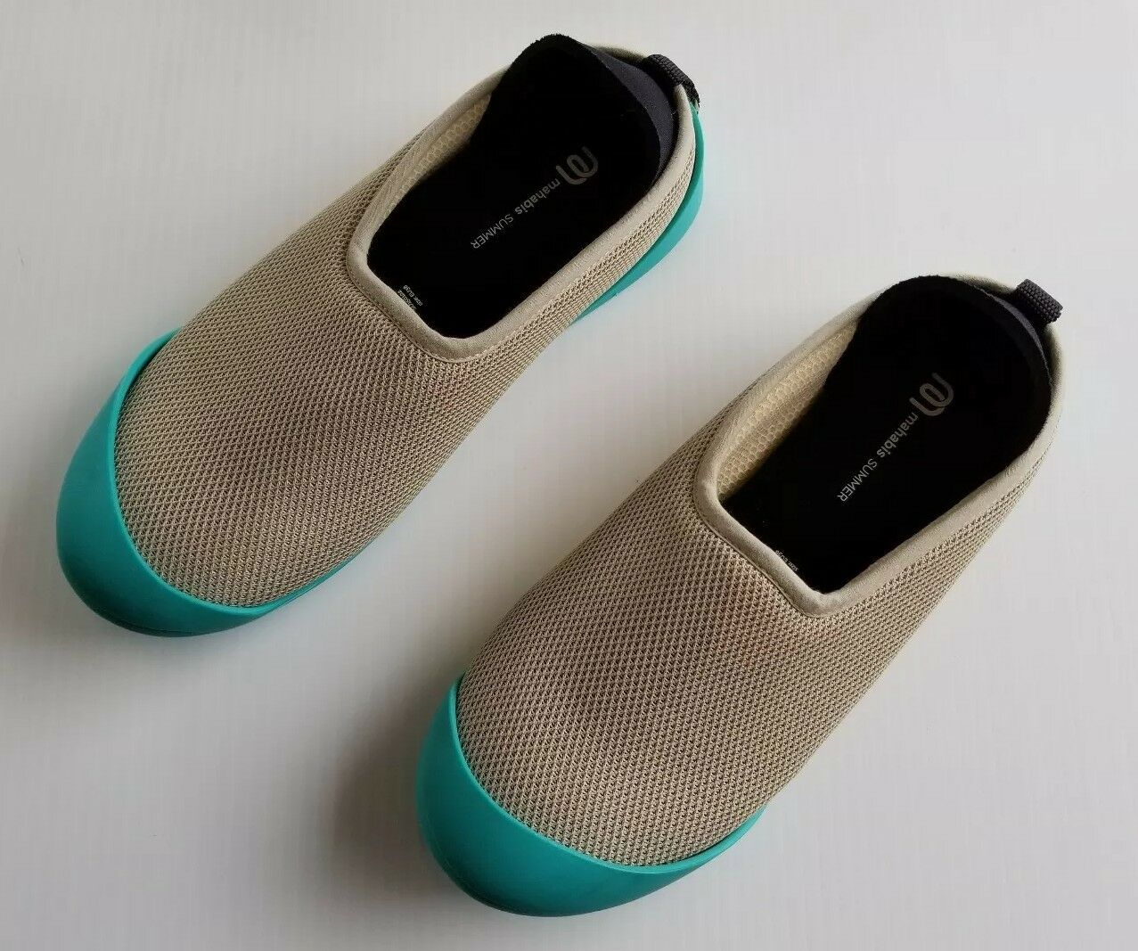 Mahabis Summer Slippers Beige with Teal Rubber Soles Womens 7.5 SU150102
