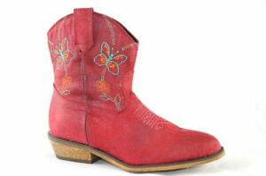 Girl/'s Dingo Red Western Ankle Boots Butterfly