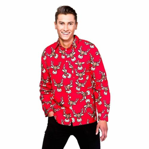 Mens Christmas Shirts Long Sleeved Xmas Fancy Dress Adult Outfit