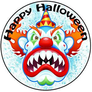 Halloween Evil Clown Face Cake Topper Pre Cut Round 8 20cm