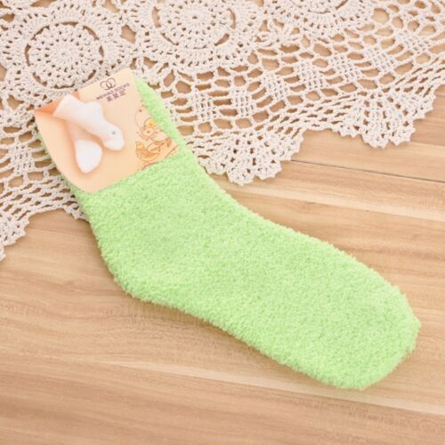 1 Pair Women/'s Candy Color Fuzzy Socks Fall Winter Soft Ankle Socks Bed Socks