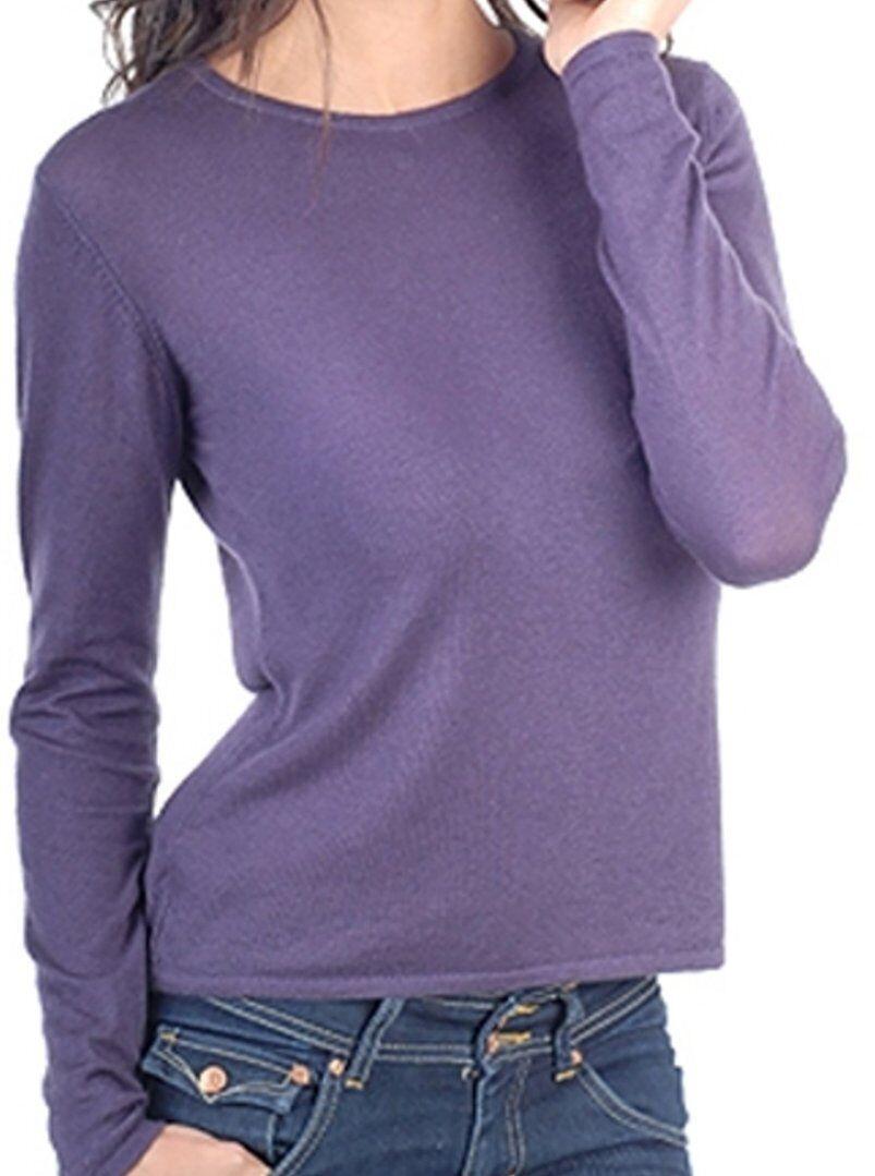 Balldiri 100% Cashmere Duvet Damen Pullover Rundhals 2-fädig brombeere XL