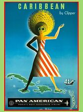 Caribbean by Clipper Island Girl Sea Vintage Travel Advertisement Art Poster