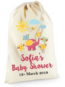 Personalised Baby Shower Gift Cotton Canvas Drawstring Bag Girl Boy Baby Party