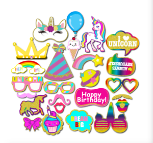 25PCS Unicorn Photo Booth Prop Girl Birthday Party Supplies Decorations On Stick