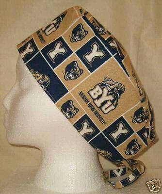 Surgical Scrub Hat Cap Made w Brigham Young University BYU Fabric Skull Nurse ER