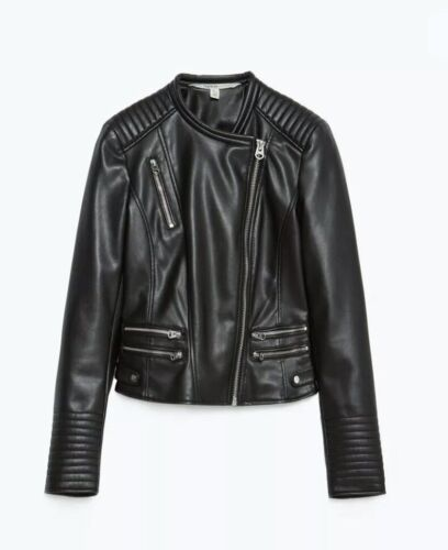 Zara black faux leather biker jacket