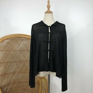 Calliope-Road-Long-Sleeve-Cardigan-Black-Knit-Merino-Wool-Blend-Size-M-NZ-Design