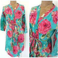 Floral Robe Wrap Dress Size Medium Cotton Belted Mini Lingerie Casual Roses