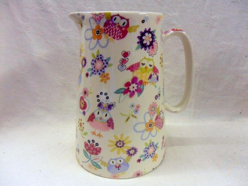 Hoot owls design 4 pint pitcher jug by Heron Cross Pottery