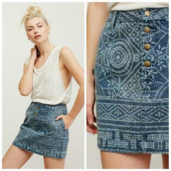 Free people school daze denim skirt size 4