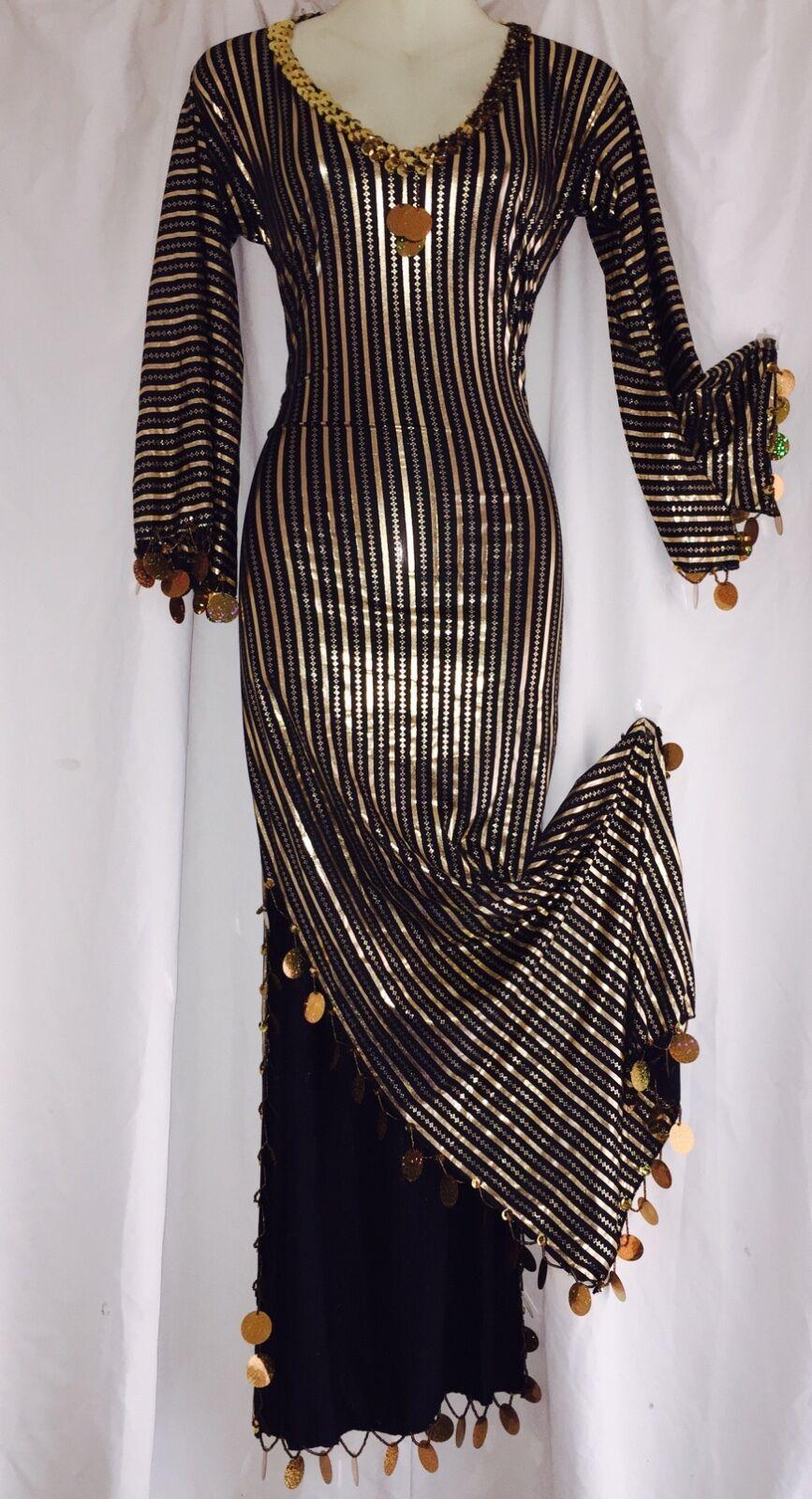 BELLY DANCE DRESS ABAYA Galabeya Baladi Costume Saidi Many Colors//Gold
