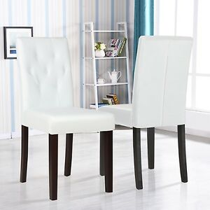 Set of 2 Ivory White Leather Dining Room Chair Kitchen ...
