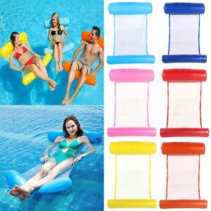Hinchable-Hamaca-Agua-Malla-Relaxliege-Nadar-Cubierta-Arena-Piscina-6-Farben