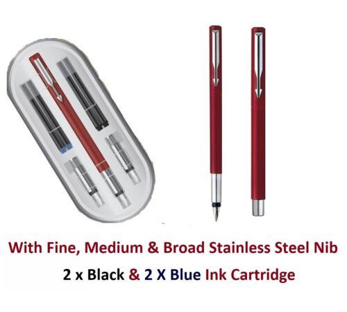 Parker Vector Calligraphy Fountain Pen set GIFTBOX 3 NIBS /& 4 CARTRIDGES