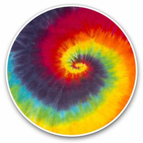 2 x Vinyle Autocollants 7.5 cm-Tie Dye Tourbillon Hippie Motif Vintage Rétro Cool Cadeau #