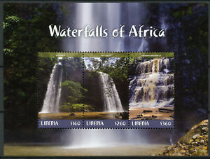 Liberia-2018-MNH-Waterfalls-of-Africa-Boti-Falls-3v-M-S-II-Landscapes-Stamps