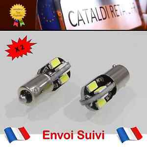 Appris 2 X Veilleuses Led T4w Ba9s 8 Smd Canbus Anti Erreur Odb Blanc Pur / France !