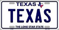 Texas Background Novelty Metal License Plate