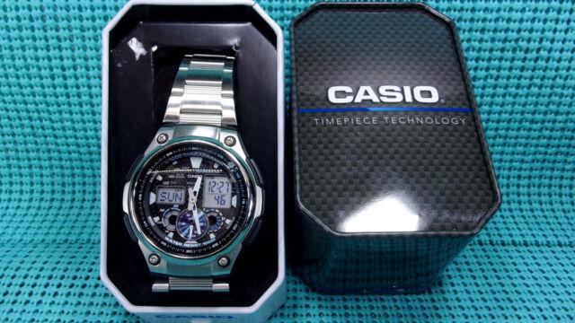 Casio homme analogique-numérique WR 100 m en acier inoxydable Bande Montre-AQ190W