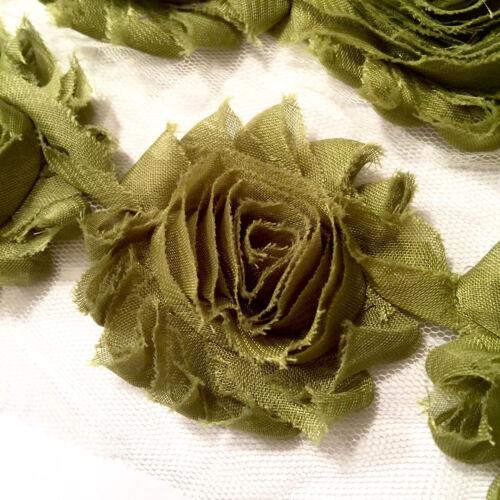"1 yard olive green 2.5/"" shabby chiffon rose trim flowers DIY baby headband"