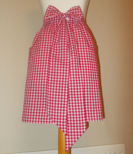 New /'Red Gingham /' Vintage Style Waist Apron//Pinny