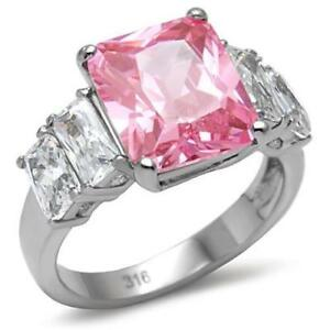 088 PINK SAPPHIRE EMERALD CUT SIMULATED DIAMOND  RING STAINLESS STEEL ENGAGEMENT - LINCOLNSHIRE, United Kingdom - 088 PINK SAPPHIRE EMERALD CUT SIMULATED DIAMOND  RING STAINLESS STEEL ENGAGEMENT - LINCOLNSHIRE, United Kingdom