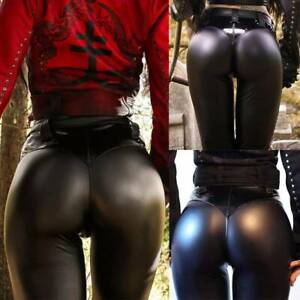 Women-039-s-High-Waist-Faux-Leather-Leggings-Push-Up-Skinny-Black-Pencil-Pants-G9