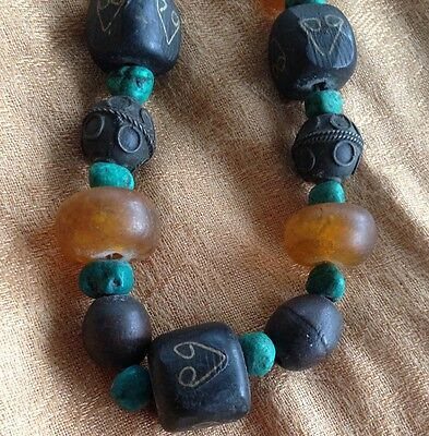 Vintage Moroccan Necklace Copal Amber Malachite Silver Inlay Trade Beads