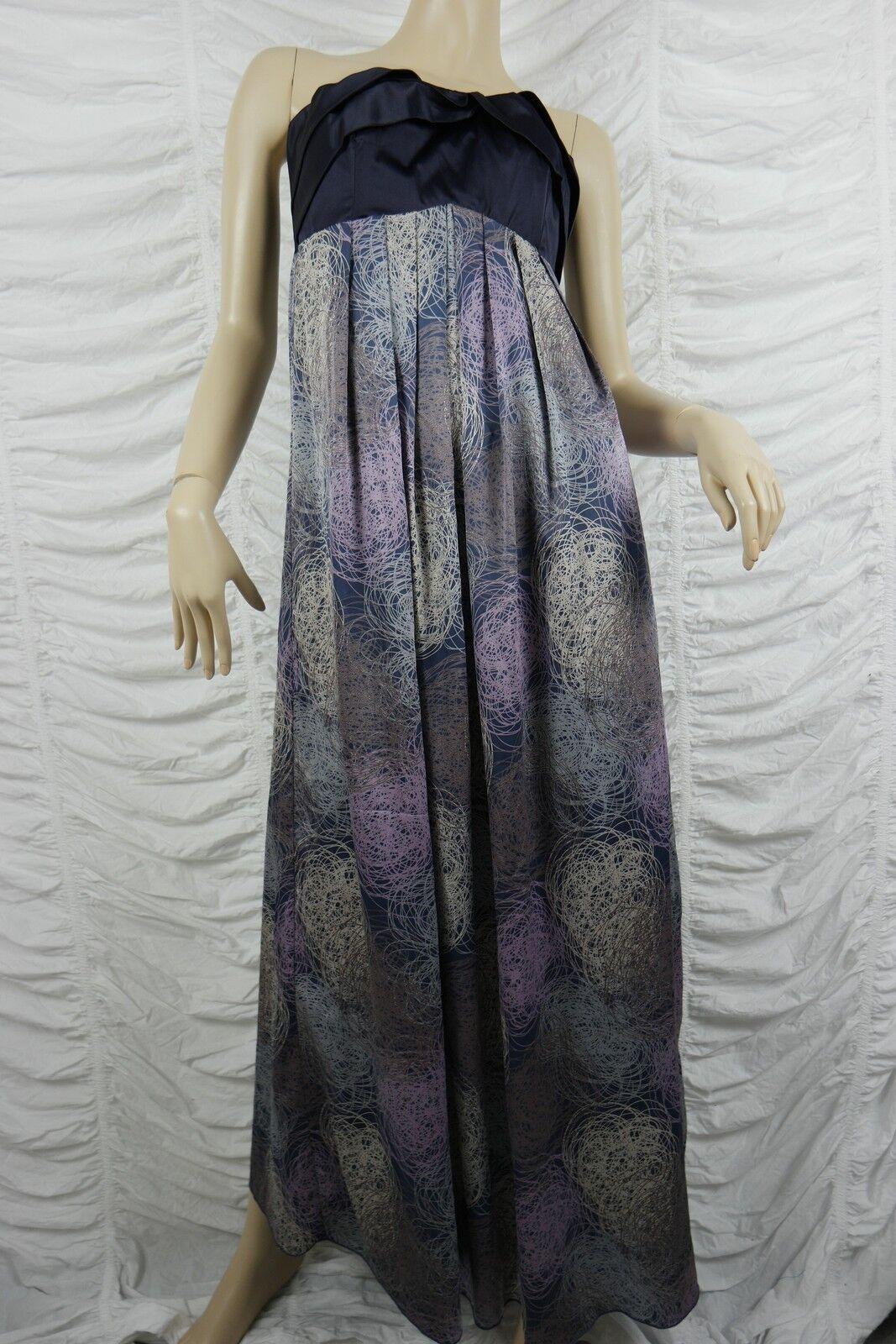 LANGHEM purple strapless squiggle print formal maxi dress size 10 EUC