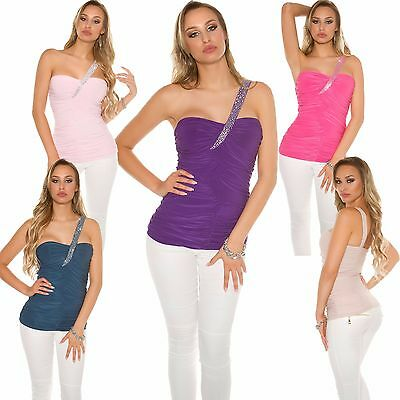 Damen One Shoulder Top Shirt asymmetrisch Strass Party Club Raffung S 34 36 sexy
