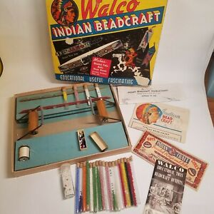Vintage-Indian-Beadcraft-Set-Kit-Loom-Glass-Tube-Seed-Beads-in-box-Outfit-no-210