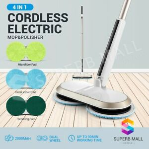 Electric-Rotating-Spin-Mop-Cordless-Floor-Cleaner-Sweeper-Washer-Wax-Polisher
