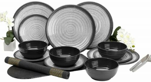 12-Piece Melamine Dinner Set Granite Grey Plates Summer Camping BBQ Dining for 4