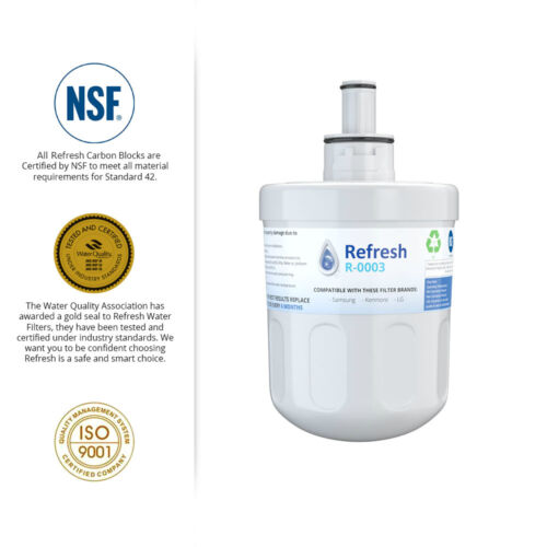 Fits Samsung RS2530BWP Refrigerators Refresh Replacement Water Filter 2 Pack
