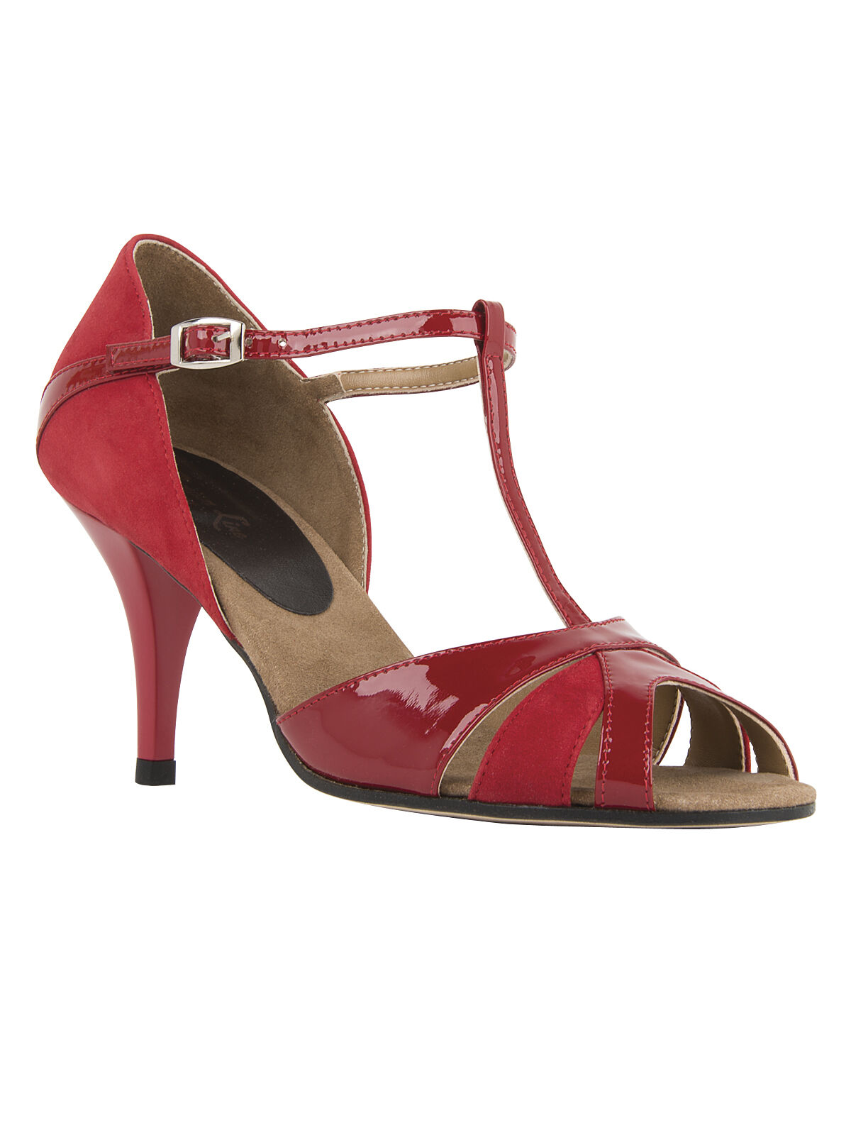 Hull 9155 daSie Leather Tango Salsa Latin Dance schuhe T-Strap rot ABS. 7,5cm