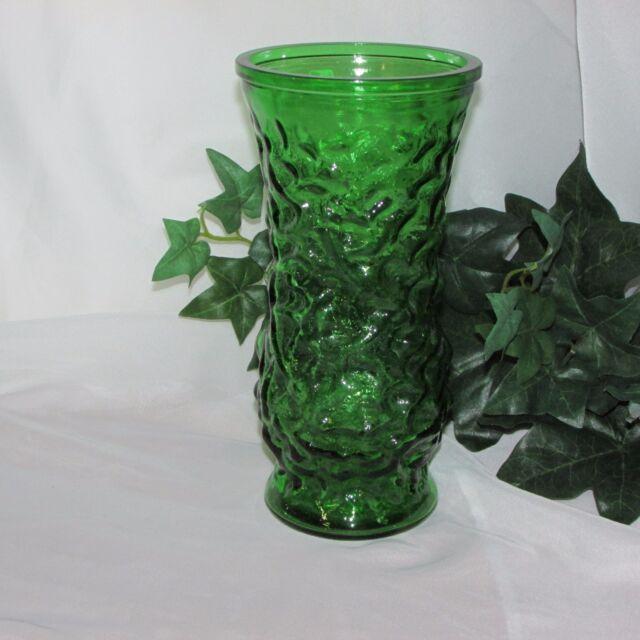 Vtg Green Hoosier Glass Textured Flower Bouquet Vase 8 12 Ebay