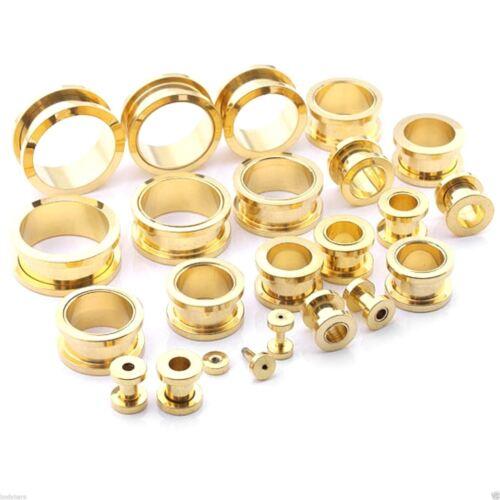 Ear Plug Tunnel Screw Fit Gold Anodized Stretcher Body Piercing 2mm-22mm
