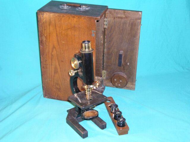 R & J Beck London Standard Model I Monocular Microscope & Lenses & Mahogany Case