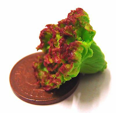 1:12 Scale 2 Red Lettuce Tumdee Dolls House Vegetable Kitchen Food Garden Salad